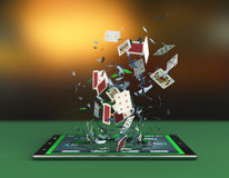 Poker online. Tablet pc with a poker app and poker cards coming out by breaking the glass, concept of online gaming (3d render royalty free illustration