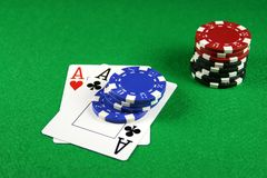 Poker - A Pair of Aces with Poker Chips 3. Playing cards showing a pair of aces with poker chips next to them Stock Photography