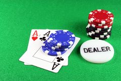 Poker - A Pair of Aces with Poker Chips 5 Royalty Free Stock Photos