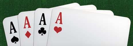 Poker panorama. Panoramic illustration of a poker of aces, on a green table background royalty free illustration