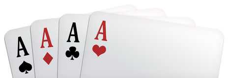Poker panorama. Panoramic illustration of a poker of aces, isolated on white background royalty free illustration