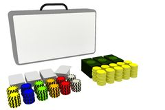 Poker party accessories. Accessories for poker party with a big white labelled bag Stock Photography