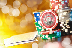 Poker play. Poker cards and chips Stock Photo