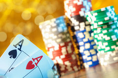 Poker play. Poker cards and chips Royalty Free Stock Images