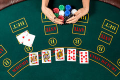 Poker play. Chips Royalty Free Stock Photo