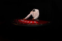 Poker player with cards Stock Photos