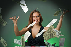 Poker player in casino with cards and chips Stock Photography