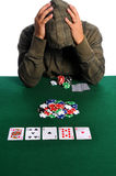 Poker Player in Despair stock image