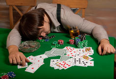 Poker player fell asleep Royalty Free Stock Photography