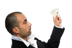 Poker player with four aces Stock Image
