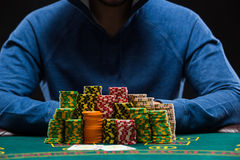 Poker player looking at combination of two aces. Closeup Royalty Free Stock Photos
