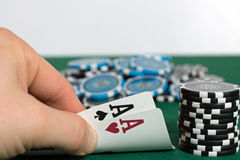 Poker. Player is showing his pocket cards stock images