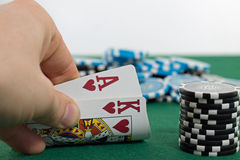 Poker. Player is showing his pocket cards stock photos