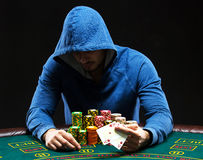Poker player showing a pair of aces Stock Image