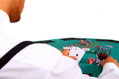 Poker Player With Table Stock Images