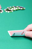 Poker player with two aces Royalty Free Stock Photos