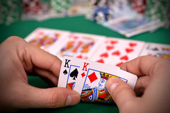 Poker player with two kings Stock Photo