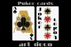 Poker playing card. Ace clubs. Joker. Poker cards in the art deco style. Standard size card. Vector. Illustration Royalty Free Stock Photography