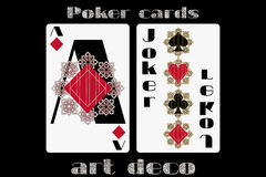 Poker playing card. Ace diamond. Joker. Poker cards in the art deco style.  Stock Photo