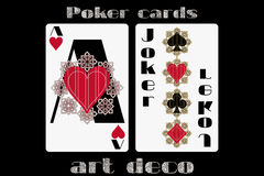 Poker playing card. Ace heart. Joker. Poker cards in the art deco style. Standard size card. Royalty Free Stock Photos