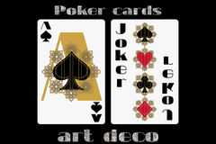 Poker playing card. Ace spade. Joker. Poker cards in the art deco style. Standard size card. Royalty Free Stock Photography