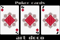 Poker playing card. 5 diamond. 6 diamond. 7 diamond. Poker cards in the art deco style. Standard size card. Vector illustrations vector illustration