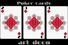 Poker playing card. 2 diamond. 3 diamond. 4 diamond. Poker cards in the art deco style. Standard size card. Vector. Illustration royalty free illustration