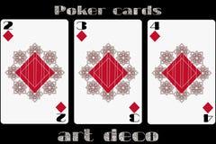 Poker playing card. 2 diamond. 3 diamond. 4 diamond. Poker cards in the art deco style. Standard size card. Vector Stock Image
