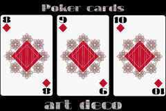 Poker playing card. 8 diamond. 9 diamond. 10 diamond. Poker cards in the art deco style. Standard size card. Vector. Illustration royalty free illustration