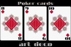 Poker playing card. 8 diamond. 9 diamond. 10 diamond. Poker cards in the art deco style. Standard size card. Vector Royalty Free Stock Photo