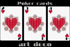 Poker playing card. 2 heart. 3 heart. 4 heart. Poker cards in the art deco style. Standard size card. Vector illustration royalty free illustration
