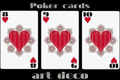 Poker playing card. 8 heart. 9 heart. 10 heart. Poker cards in the art deco style. Standard size card. Vector. Illustration vector illustration