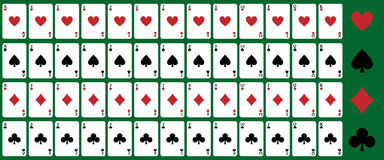 Poker playing cards. Set of playing cards for poker or blackjack,isolated on green background.EPS file available Royalty Free Stock Photography