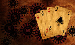 Poker playing cards with bet chips. Vintage background Royalty Free Stock Photography