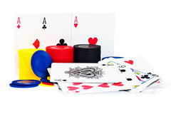 Poker playing cards and chips Stock Photography