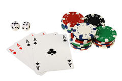 Poker playing cards, chips and dices Stock Photography