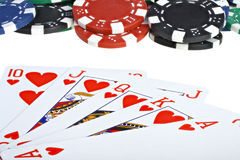 Poker playing cards and chips Stock Photos