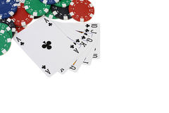 Poker playing cards and chips Royalty Free Stock Image