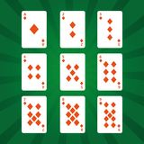 Poker playing cards diamonds suit on green background royalty free illustration