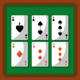 Poker playing cards fortune gambling. Vector illustration Royalty Free Stock Photo