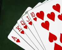 Poker Playing cards Hearts Close up Stock Image