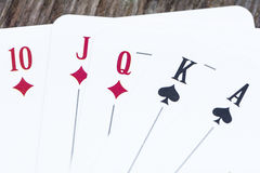 Poker Playing Cards. Red and black Playing Cards royalty free stock photos