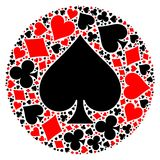 Poker playing cards suit mosaic. Mosaic circle of poker playing card suit with large black spade suit in the middle. Flat vector illustration on white background Stock Photos