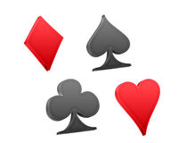 Poker playing cards symbols. In 3D isolated on white Royalty Free Stock Photos