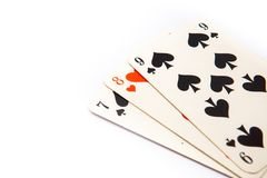 Poker playing cards with a white background stock photo