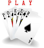 Poker Playing Cards Win Hand. Royal straight flush playing cards hand in spades word Poker royalty free illustration