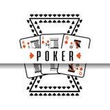 Poker poster casino gamble risk cards. Vector illustration royalty free illustration
