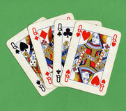 Poker of queens cards Stock Image