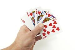 Poker räcker kunglig personspolning Arkivbild