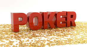Poker - Red text on gold stars - High quality 3D Render Royalty Free Stock Photo